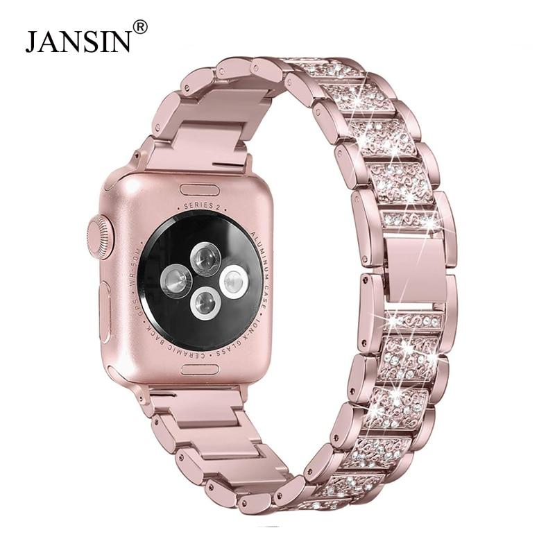 Für Apple Uhr band 40mm 44mm 38mm 42mm frauen Diamant Band für Apple Uhr serie 4 3 2 1 iWatch armband edelstahl strap