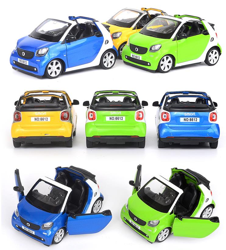High Simulation Convertible Smart Model Car,1: 32 Alloy Pull Back Car Model,musical&flashing,collection Model,free Shippping