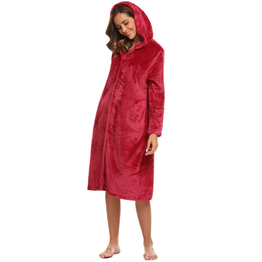 Women Hooded Solid Fleece Sleepwear Wrap Robe Bathrobe Long Sleeve New 02