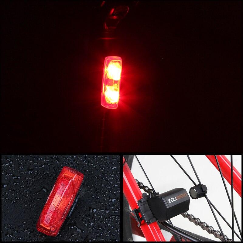 Bateria livre Da Bicicleta Da Bicicleta Ciclismo Luz Traseira Aviso Equitação Mountain Bike Luz Indução Magnética À Prova D' Água Com Suporte Bicyc