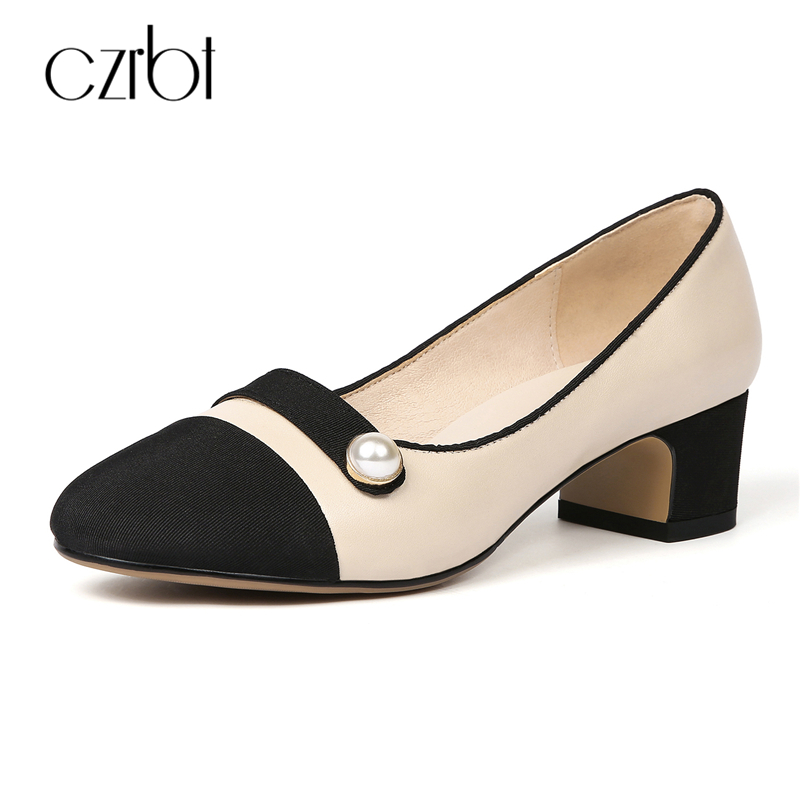 CZRBT Patchwork Color Women Shoes Cow Leather Thick Heel Mary Janes High Heels Spring Autumn Fashion Shallow Mouth Pearl Pumps new spring fashion brand genuine leather sweet classic high heels women pumps shallow thick heel mary janes lady causal shoes