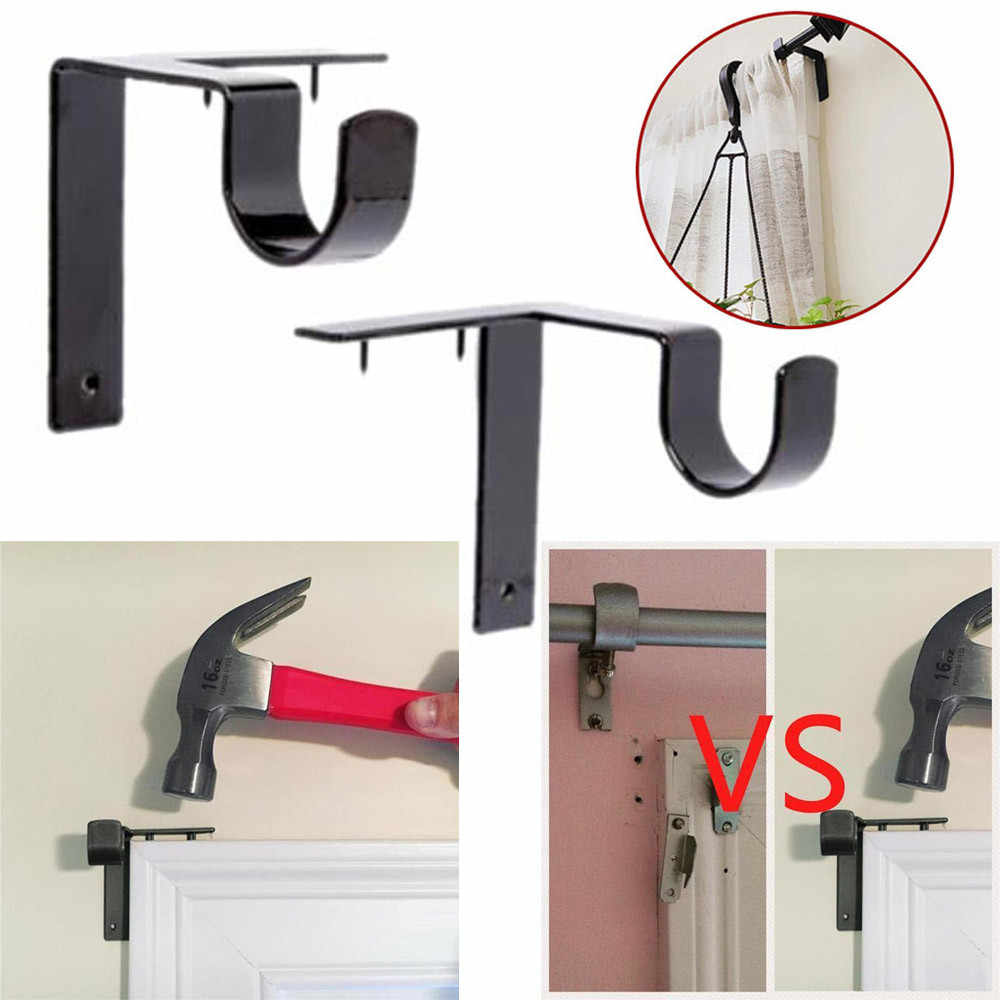 New 2 X Curtain Rod Bracket Kwik Hang Curtain Rod Holders Tap Right Into Window Frame Curtain Rod Bracket High Quality#sw