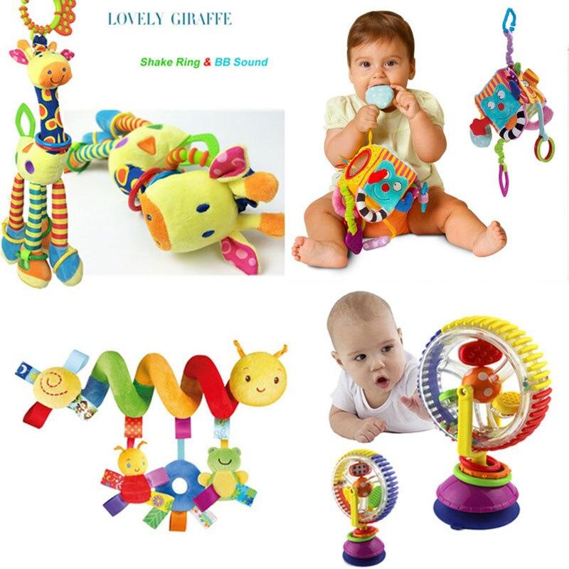Brinquedos Do Bebê macios 0-12 Meses Musicical 0 Espiral Brinquedo Brinquedos Para Bebê Cama Berço Carrinho De Criança-12 Meses educação Brinquedos Cama Sino Chocalho do bebê Bebe