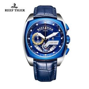 Image 4 - 2020 rafa Tiger/RT Top marka Sport zegarek dla mężczyzn luksusowe niebieskie zegarki skórzany pasek wodoodporny zegarek Relogio Masculino RGA3363