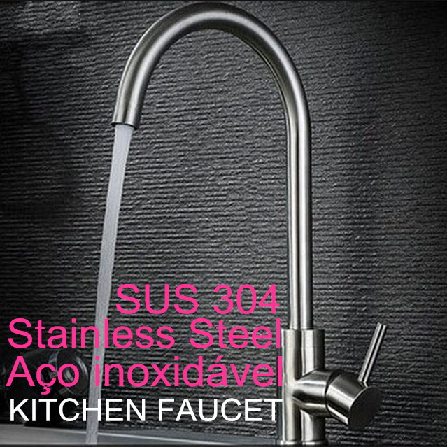 Modern Kitchen Sink Faucet Brushed Stainless Steel Basin Mixer Faucets Hot and Cold