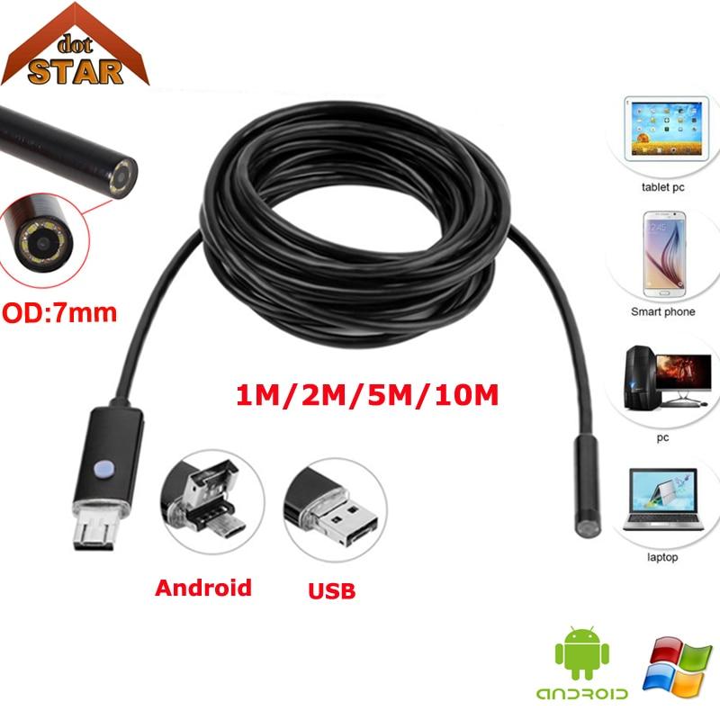 Android USB Endoscope Camera 7mm 2in1 1M 2M 5M 10M StardotOTG Micro IP67 Waterproof 6pcs LED USB Snake Tube Inspection Borescope 2m 4 led usb waterproof endoscope borescope snake camera