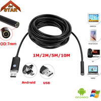 Android USB Endoscope Camera 7mm 2in1 1M 2M 5M 10M StardotOTG Micro IP67 Waterproof 6pcs LED