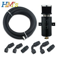 Black Aluminum Tank Oil Catch Can Filter Breather Kit 2 Port 10AN Cylinder Fuel Tank Reservoir with 3 Meters High Pressure Tube