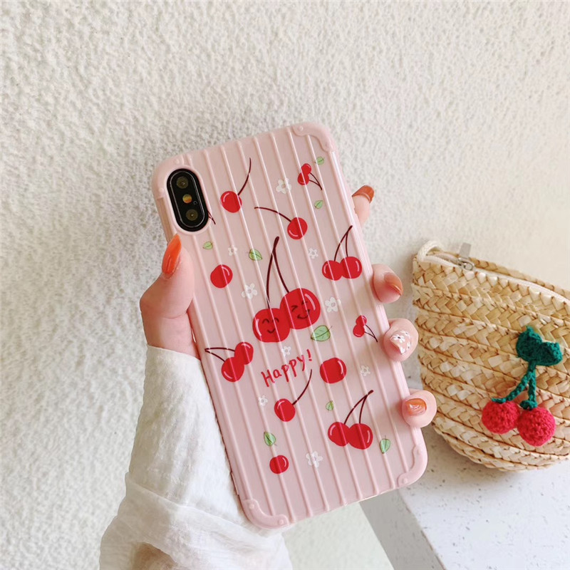 Cute girl powder cherry suitcase phone case For iphone XS MAX XR X 6 6s 7 8plus soft shell TPU protective cover