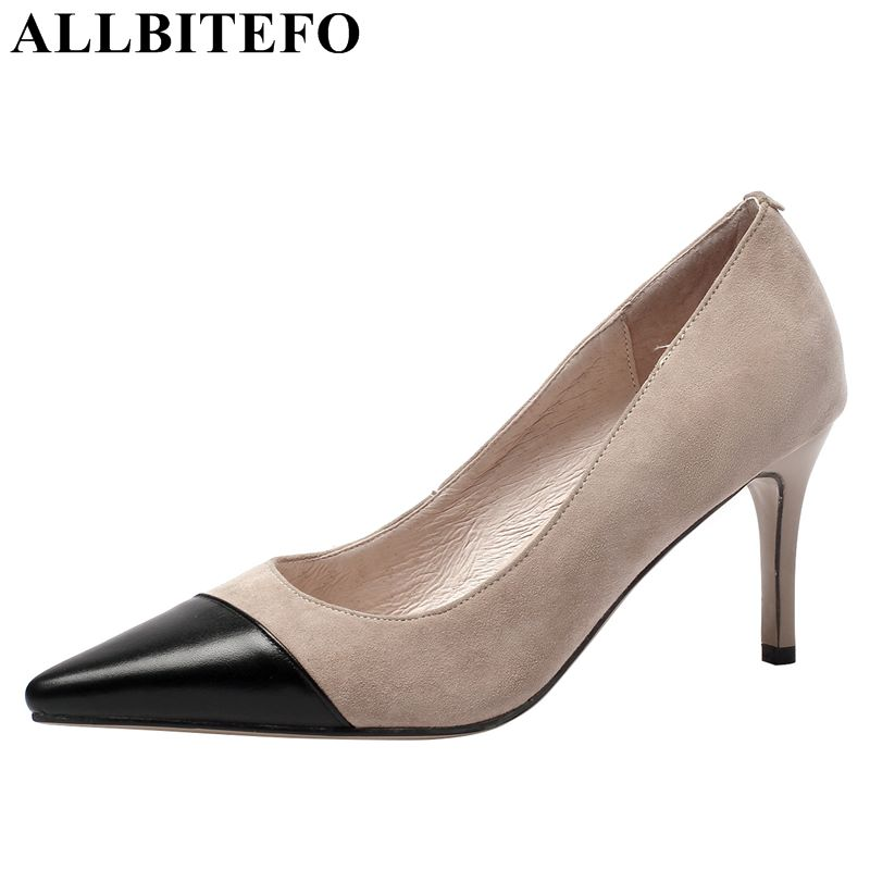 ALLBITEFO 2019 fashion high quality genuine leather women heels shoes mixed colors girls high heel shoes