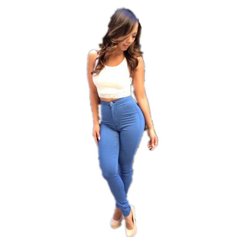 Blue Zipper High Waist Skinny Pencil Pant Long Style Fashion Ladies Daily Wear with Size S M L XL L446