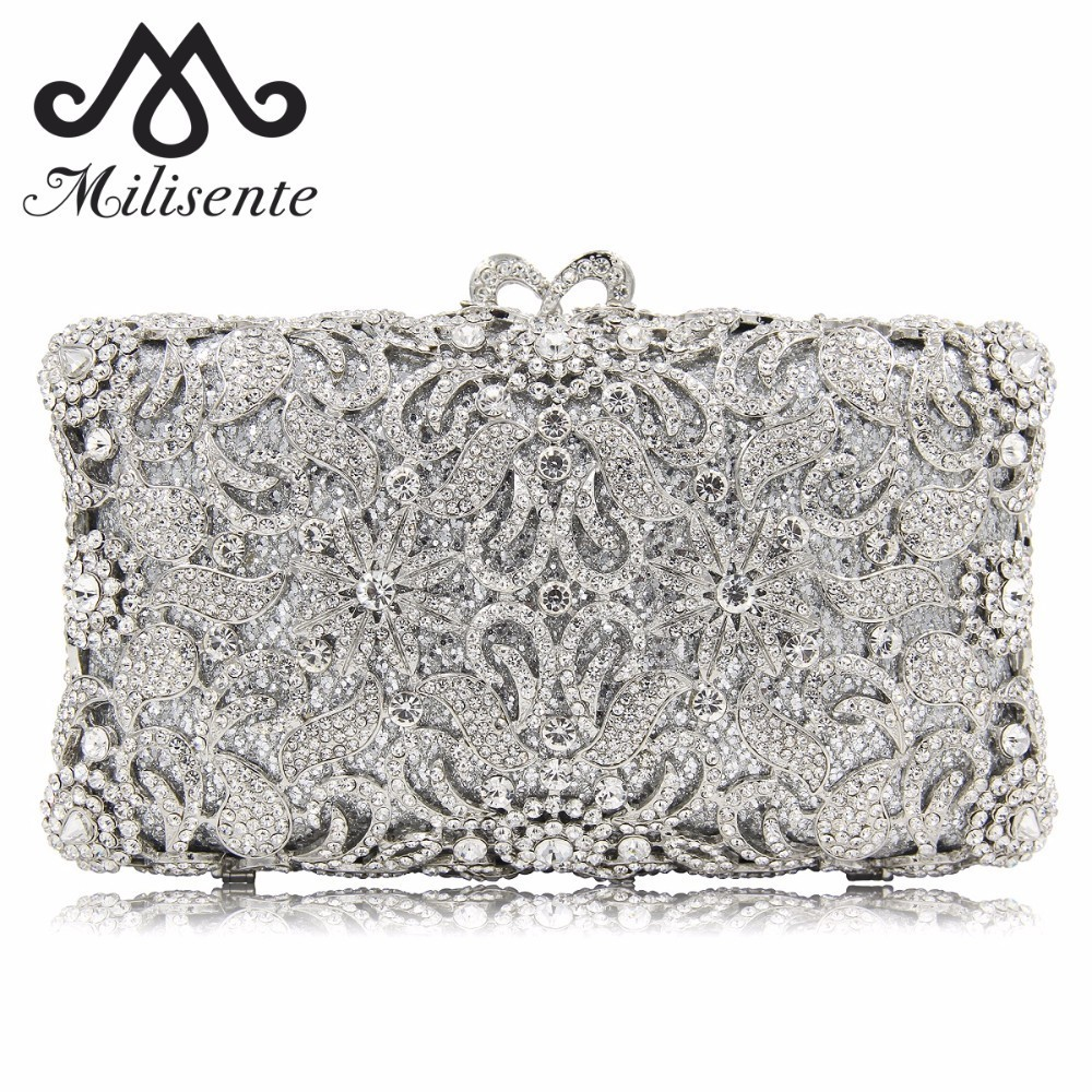 Milisente Flower Evening Bags Full Crystal Clutch Women Silver Party Purse Female Clutches Ladies Wedding Bag With Long Chain new women lady female butterfly shape party handbags evening bags wedding clutch prom with chain silver