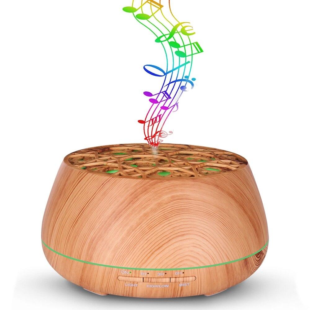 Ароматерапия диффузор Эфирные масла приложение управление увлажнитель с Bluetooth динамик может воспроизводить музыку 400 мл ёмкость 7 цветов св...