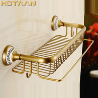 Promo ¡Producto en oferta! Toallero de latón antiguo para baño, toallero, toallero de latón macizo con ganchos, estantería esquinera para Baño