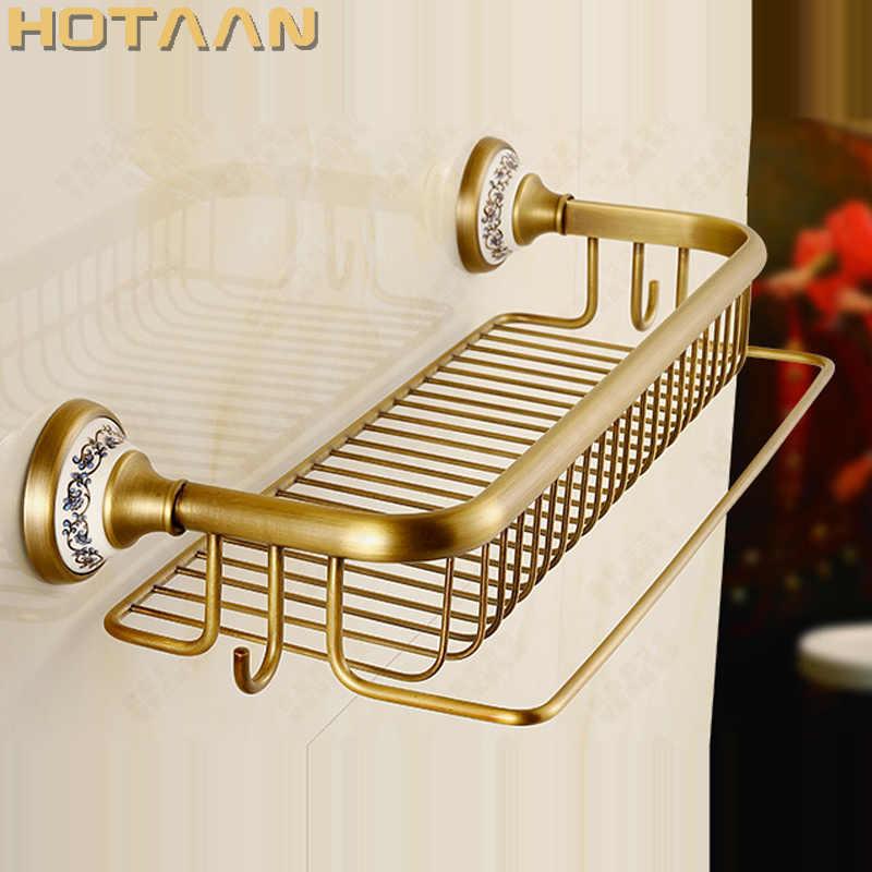 ホット販売、アンティーク真鍮の浴室のタオルホルダー、タオルラック、固体真鍮タオルラック、浴室コーナー bastket 棚