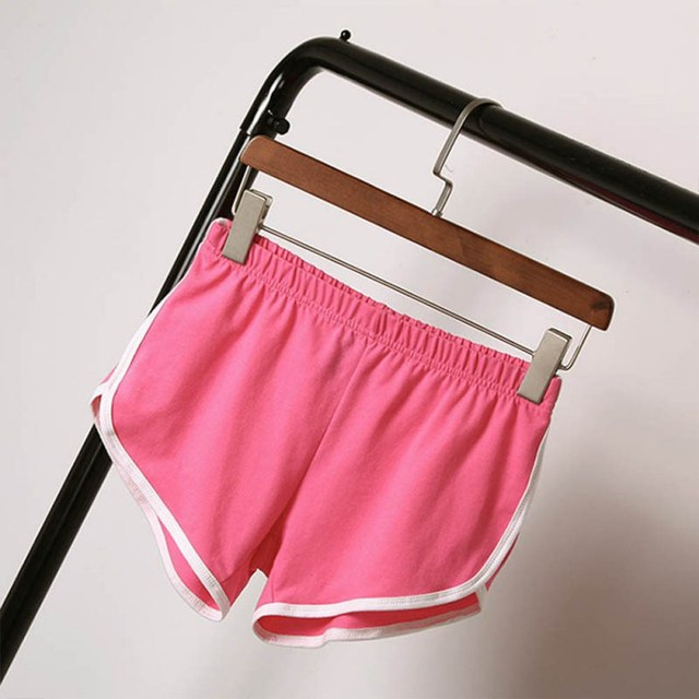 Women Elastic Waist Short All-match Loose Solid Soft Cotton Casual Short 6