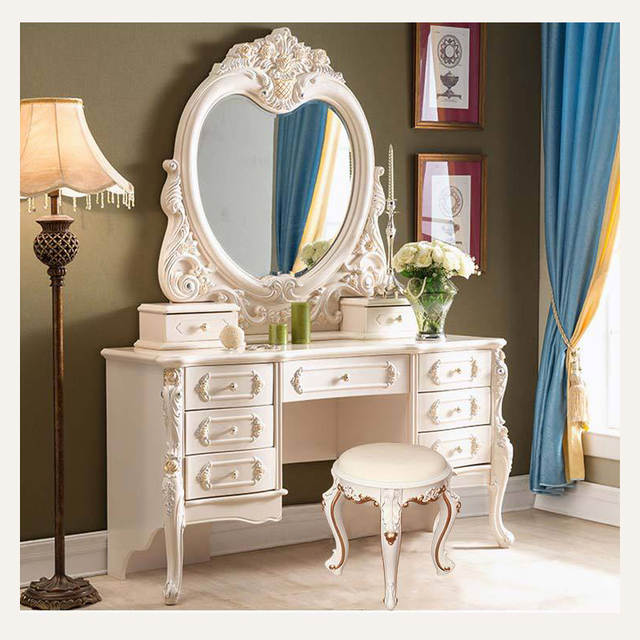 European Carved Makeup Stool Dressing Table Mirror Nail Salon Bedroom  Change Shoes Stool Dressing Stool Wedding