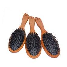 Natural Boar Bristle Hairbrush Massage Comb Anti-static  Scalp Paddle Brush Beech Wooden Handle Styling Tool