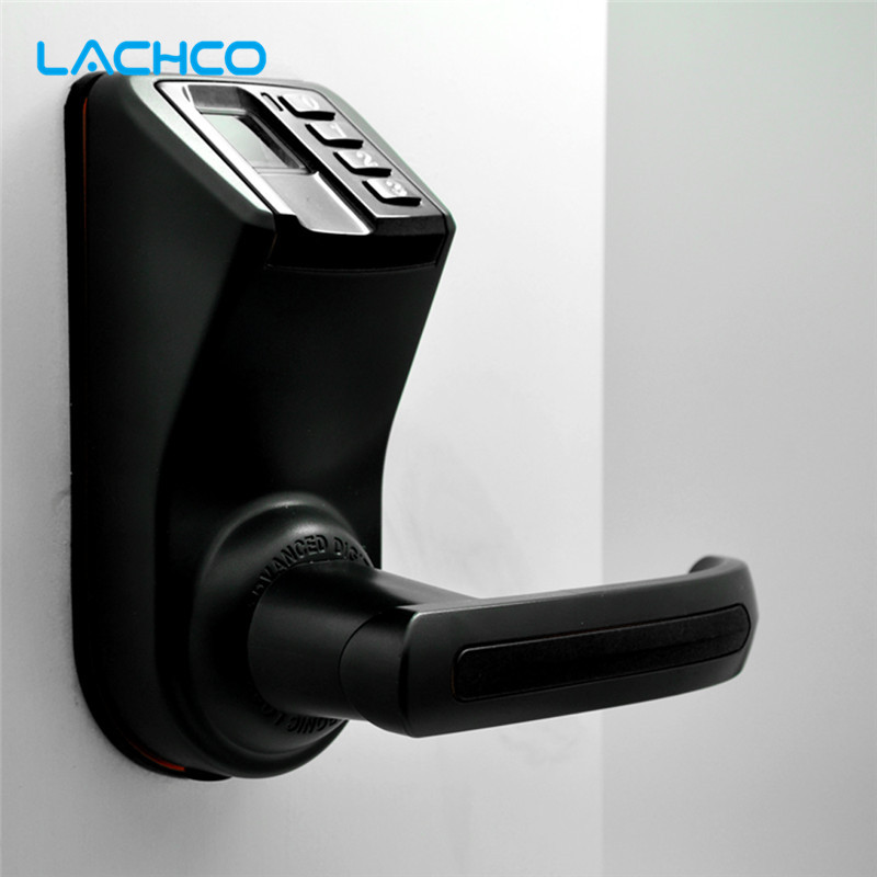 LACHCO LS911 Black LS9 Biometric Door Lock Fingerprint, Password Lock Digital Code Keyless Smart Entry Deadbolt lachco biometric electronic door lock smart fingerprint code key touch screen digital password door lock keyless entry l18013f