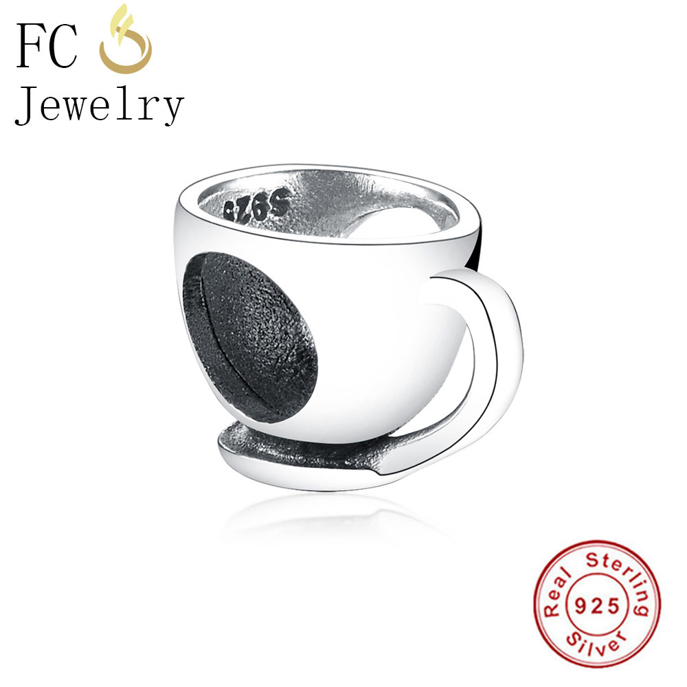 FC Jewelry Fits Original Pandora Charms Bracelets Authentic 925 Silver Coffee Drinking cup Beads Pendant for Making Berloque DIY