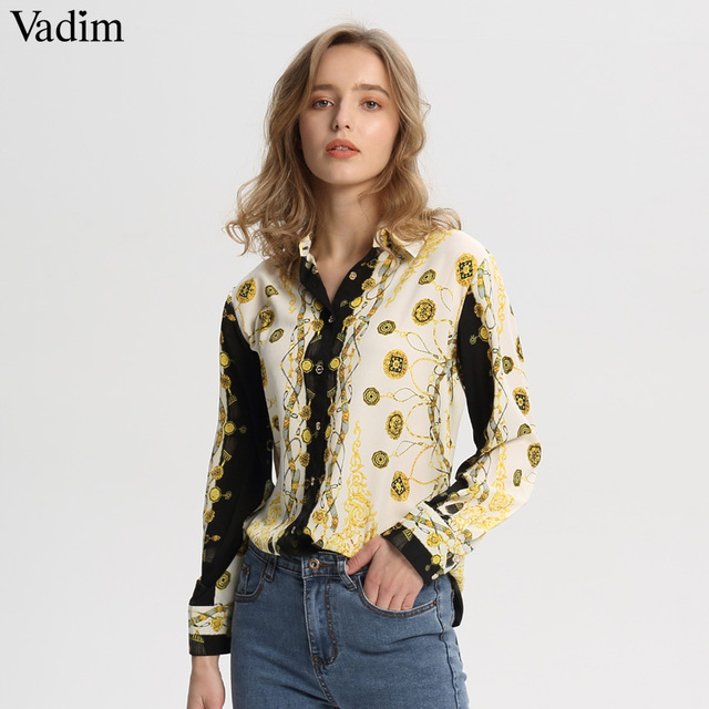 Vadim femmes élégant chaînes imprimer blouses amples à manches longues tournent vers le bas chemises à plis dames décontracté chic hauts blusas LA318