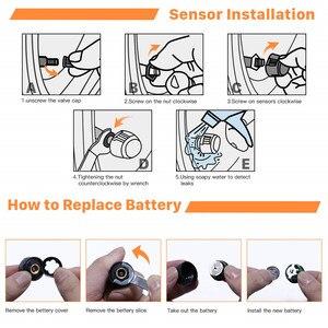 Image 5 - Solar Auto Tire Pressure Monitoring System TPMS Auto 4 Sensor Reifen Druck Alarm Che Tester