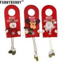 FUNNYBUNNY Christmas Santa Elk Snowman Xmas Door Hanging Pendant Home Party Decor Gift