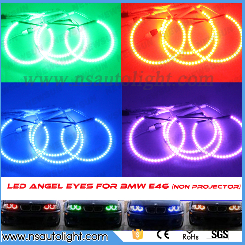 Factory sale car angel eye projector headlight rgb multicolor led angel eyes 131mm 145mm error free headlight for e46 nonproject free shipping fit for all car angel eyes headlight 36leds 5050smd 100mm dia rgb smd ring angel eye led 12v