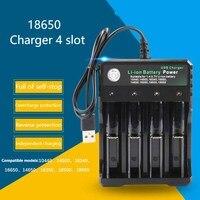 Cargador de batería de ion de litio de 3,7 V 18650, cargador de batería portátil de carga independiente por USB, cigarrillo electrónico 18350 16340 14500