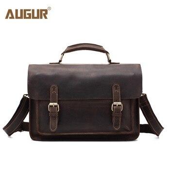 AUGUR Genuine Leather Crazy Horse Leather SLR Camera Bag Shoulder Strap Case Casual Shoulder Messenger Pack Multifunction 212# briefcase