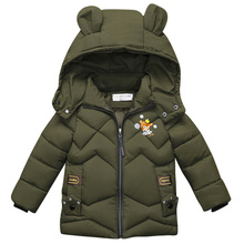 2020 Baby Boys Jackets Winter wear outerwear amp Jacket Cartoon bear print decoration Kids Warm Hooded Children Outerwear Coat cheap Polyester 0 60 European and American Style COTTON REGULAR 1817 Outerwear Coats zipper Fits true to size take your normal size