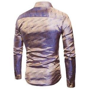 Image 2 - Camisa de cetim de seda brilhante dos homens glitter suave ondinha de água impressão camisas vestido masculino discoteca festa de discoteca palco camisa chemise homme
