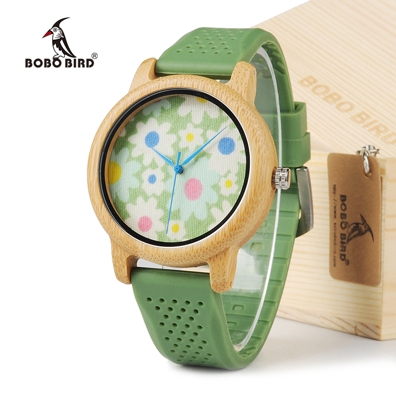 BOBO BIRD B04 2016 New Arrival Women Dress Wooden watches With Silicon band Quartz Watch Japanese 2035 movement With Gift Box