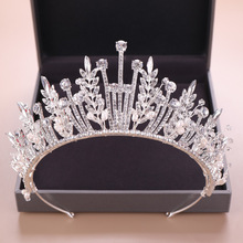 Silver Crystal Sunflower Crown Tiara Headbands Baroque Style Wedding Jewelry Engagement Hair Accessories For Bride baroque luxury rhinestone crystal beaded wedding tiara bride crown wedding hair accessories