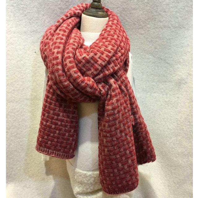 Herbst Winter Blocking Farbe Schal Frauen H Muster Gestrickte Schals