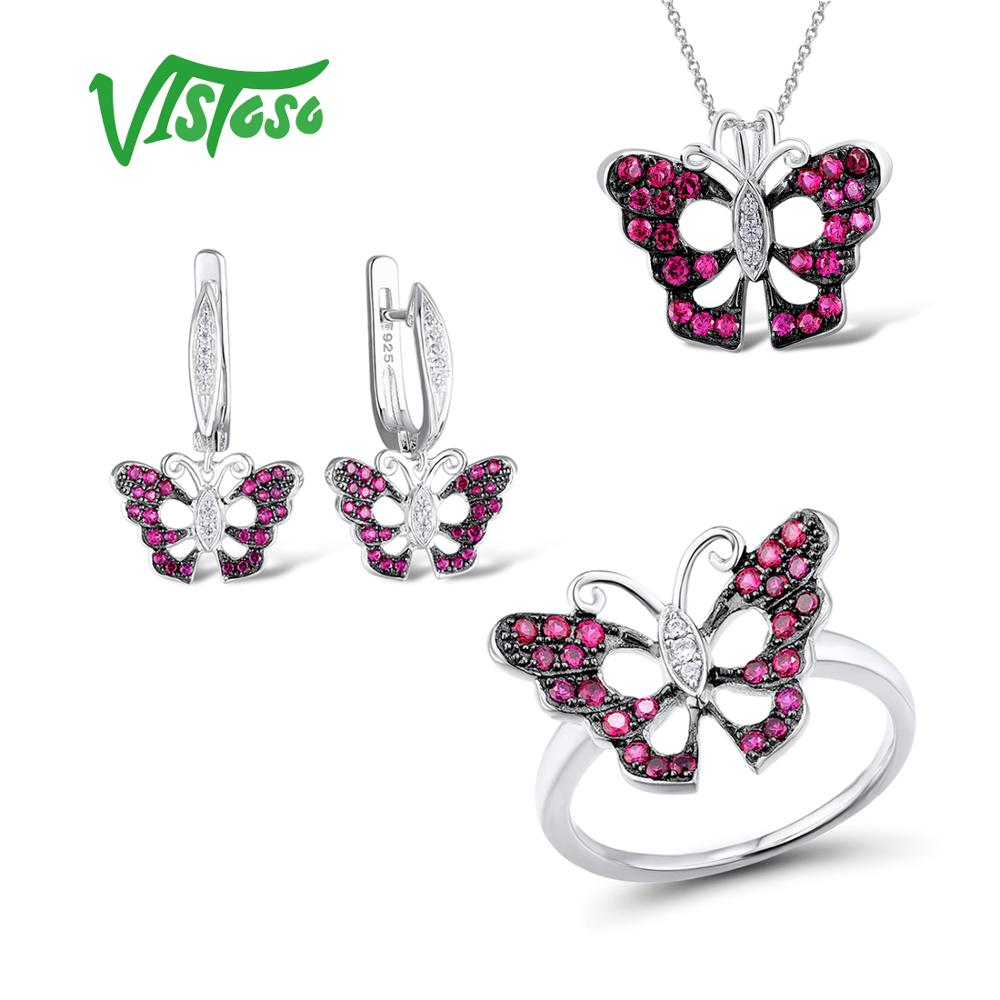 VISTOSO Jewelry Sets For Woman Created Ruby Stones Jewelry Set Earrings Pendant Ring 925 Sterling Silver Fashion Fine Jewelry rhinestone faux ruby pendant jewelry set