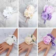 Handmade Rose Wrist Flowers Corsages for Bridesmaid Bracelet Band Wedding Accessories Bridal Flower Marriage Decoration