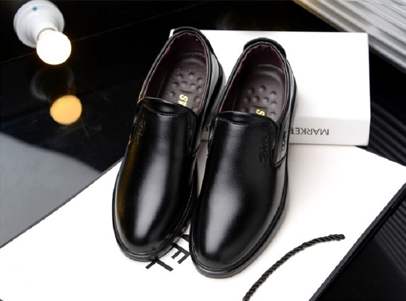 SpringAutum mens dress Business shoes casamento PU Leather Rubber Sole Breathable Waterproof Slip-On Hard-Wearing YC216 (6)