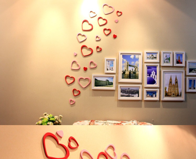 DIY Wooden heart 3D wall stickers creative wall love can remove ...