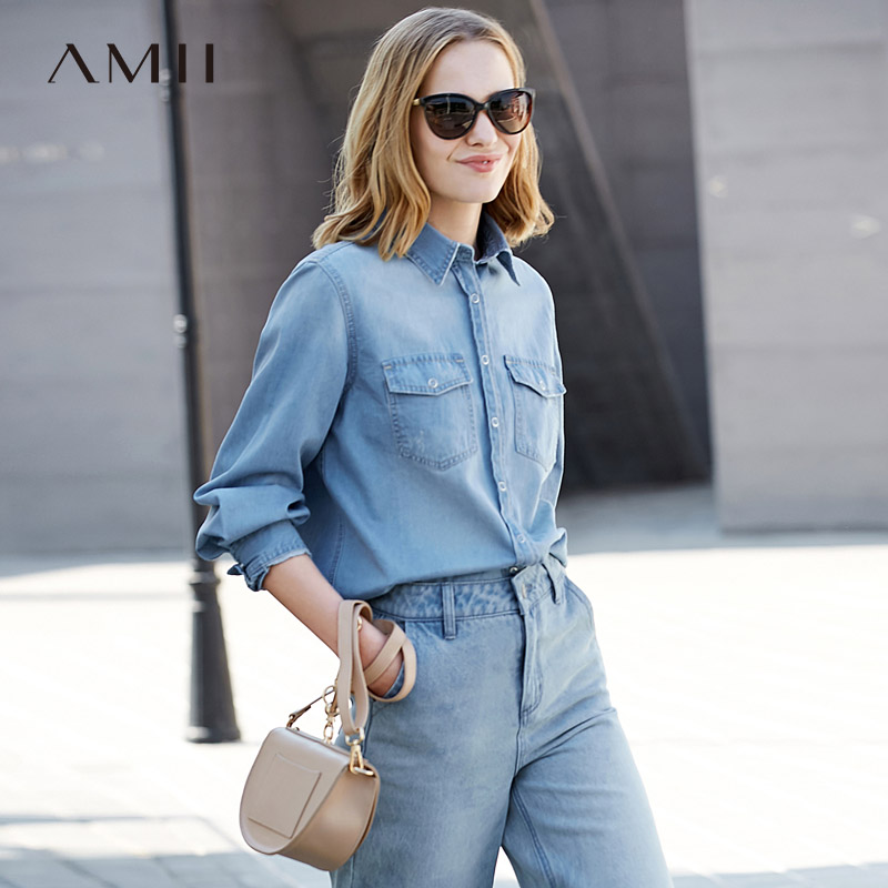 Amii Minimalist Women 2019 Autumn   Blouse   Office Lady 100% Cotton Denim   Shirt   Long Sleeve Female   Blouses     Shirts