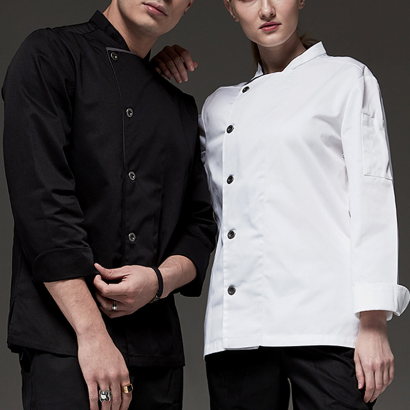 Black White Long Sleeve Chef Shirt D74-1
