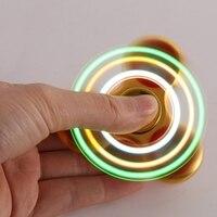 Hot Shining Luminous LED Lights Tri Fidget Hand Finger Spinner As Function The Rainbow Spinning Toy