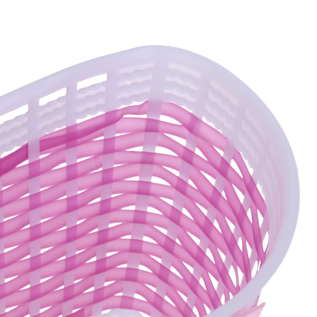 Perfeclan Bike Handlebar Sparkle Streamers Tassels+Front Basket Pouch Detachable Pink Bike Basket Front Bike Streamers