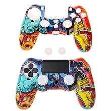 Многихцветные стиль Силиконовый геймпад чехол + 2 джойстик Крышка для PS4 контроллер