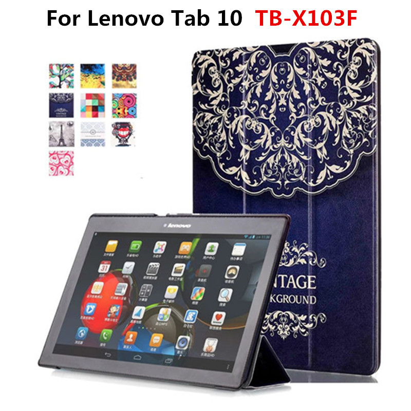 For Lenovo Tab 10 TB-X103F X103F 10.1'' Tablet  Funda Cover Stand Case Colorful Painting PU Leather Protective Slim Cases ножницы для живой изгороди 10 truper tb 17 31476