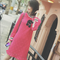 New Winter Pink Nail Drill Collar Lace Long Sleeve Dress D1050 Bow