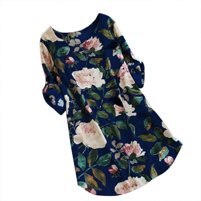 JAYCOSIN Womens Casual Summer Dress Plus Sizes Long Sleeve Cotton And Linen Dress Female Printed Loose Summer Dress Beach Boho