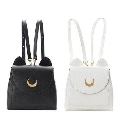 Sailor moon PU Laura cat moon backpack women young girl school bag cute