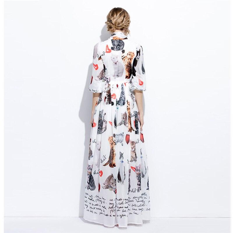 New 2017 Summer Fashion Elegant Print Bow Collar Long Flare Sleeve Floor Length Cat & Heart White Long Dress Vintage Bohemian - 2