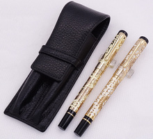 Jinhao 5000 Yellow Golden Fountain Pen & Roller with Real Leather Pencil Case Bag Washed Cowhide Holder Writing Set
